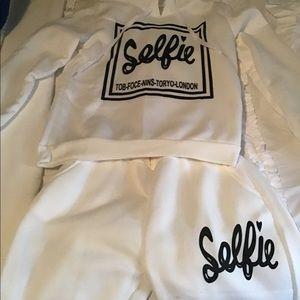 White Selfie Jogger/ Hoodie Lounge Set